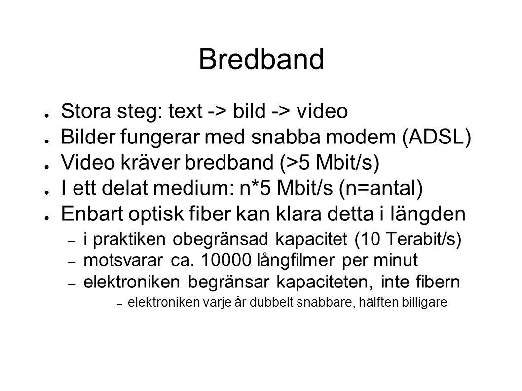 Bredband ● Stora steg: text -> bild -> video ● Bilder fungerar med snabba modem (ADSL) ● Video kräver bredband (>5 Mbit/s) ● I ett delat medium: n*5 Mbit/s (n=antal) ● Enbart optisk fiber kan klara detta i längden – i praktiken obegränsad kapacitet (10 Terabit/s) – motsvarar ca.