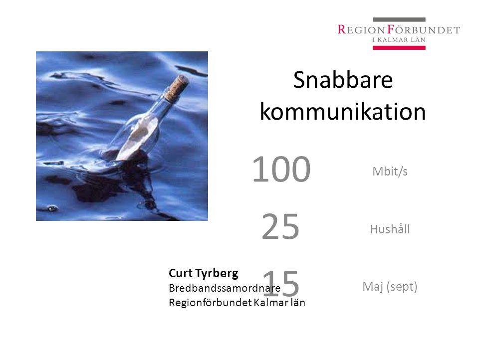 Snabbare kommunikation 100 25 15 Mbit/s Hushåll Maj (sept) Curt Tyrberg Bredbandssamordnare Regionförbundet Kalmar län