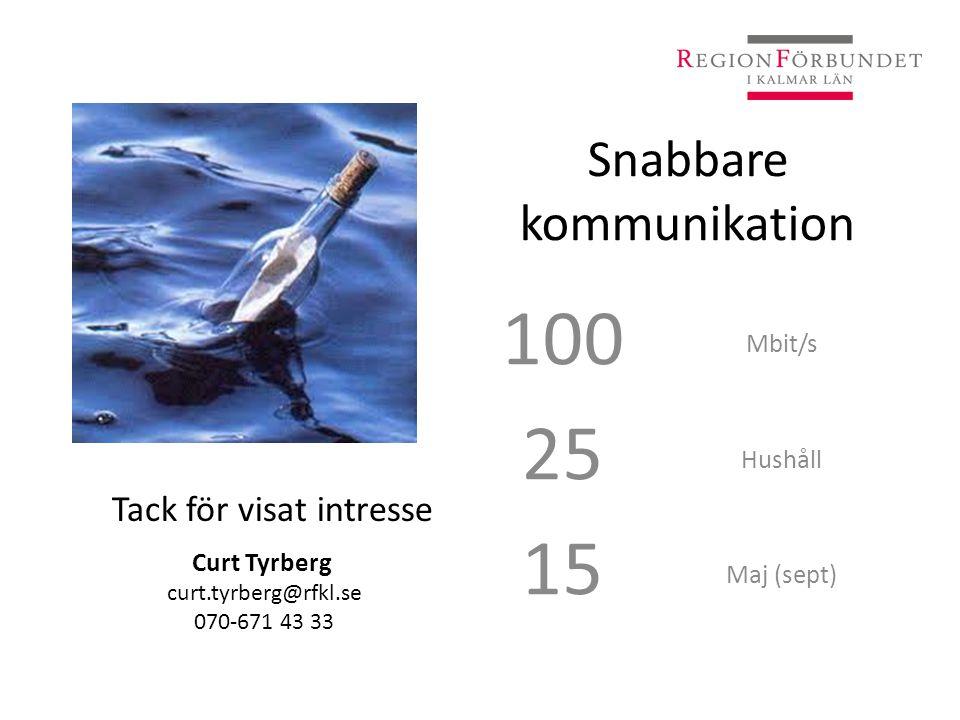 Snabbare kommunikation 100 25 15 Mbit/s Hushåll Maj (sept) Tack för visat intresse Curt Tyrberg curt.tyrberg@rfkl.se 070-671 43 33