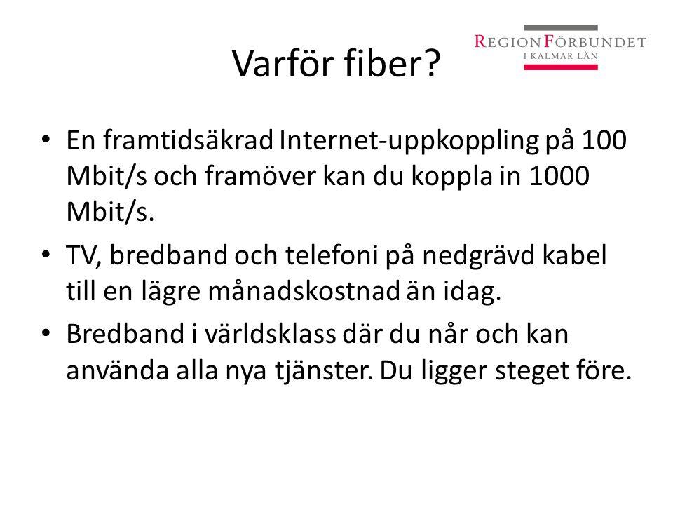 Varför fiber? • En framtidsäkrad Internet-uppkoppling på 100 Mbit/s och framöver kan du koppla in 1000 Mbit/s. • TV, bredband och telefoni på nedgrävd