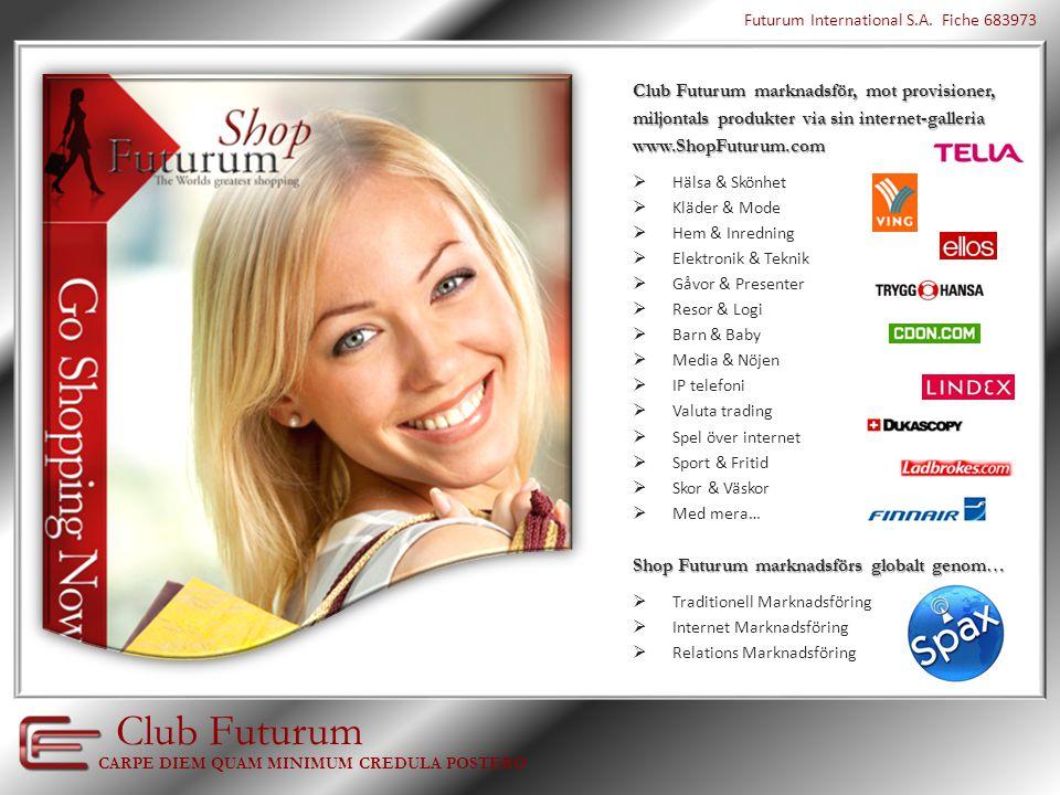 Tanken bakom Club Futurum En nordisk affärsgrupp med erfarenhet inom marknadsföring, programmering och företagsledning, satte sig ner 2007 för att börja bygga världens största internet-galleria.