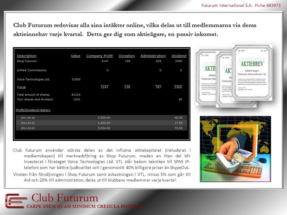 Club Futurum marknadsför, mot provisioner, miljontals produkter via sin internet-galleria www.ShopFuturum.com  Hälsa & Skönhet  Kläder & Mode  Hem & Inredning  Elektronik & Teknik  Gåvor & Presenter  Resor & Logi  Barn & Baby  Media & Nöjen  IP telefoni  Valuta trading  Spel över internet  Sport & Fritid  Skor & Väskor  Med mera… Shop Futurum marknadsförs globalt genom…  Traditionell Marknadsföring  Internet Marknadsföring  Relations Marknadsföring CARPE DIEM QUAM MINIMUM CREDULA POSTERO Club Futurum Futurum International S.A.