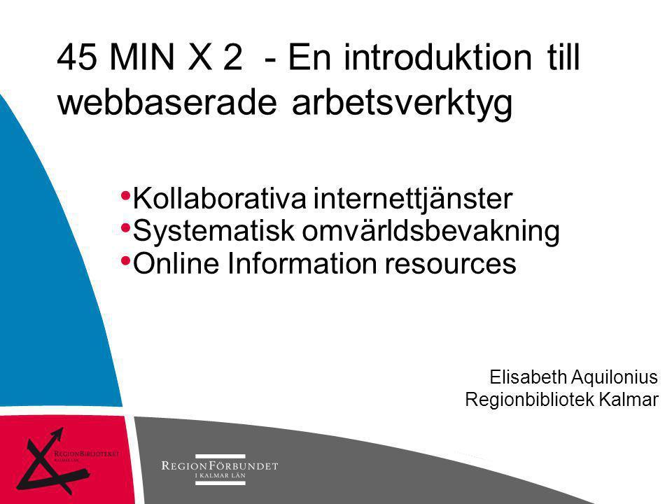 Elisabeth Aquilonius Regionbibliotek Kalmar • Kollaborativa internettjänster • Systematisk omvärldsbevakning • Online Information resources 45 MIN X 2