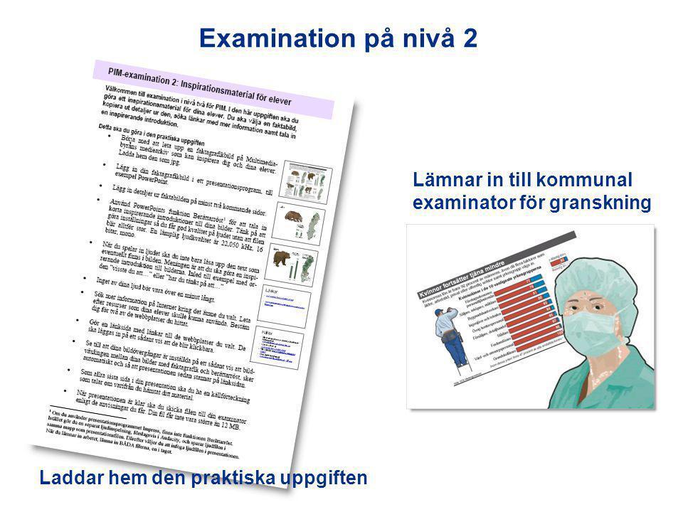 Laddar hem den praktiska uppgiften Lämnar in till kommunal examinator för granskning Examination på nivå 2