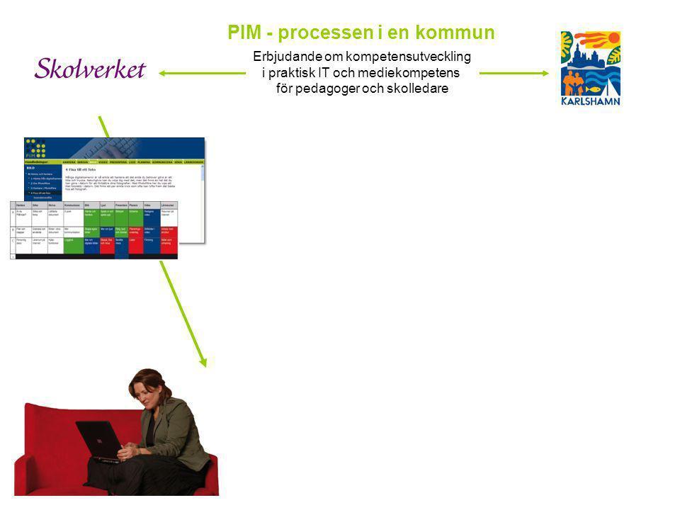 PIM - processen i en kommun Erbjudande om kompetensutveckling i praktisk IT och mediekompetens för pedagoger och skolledare