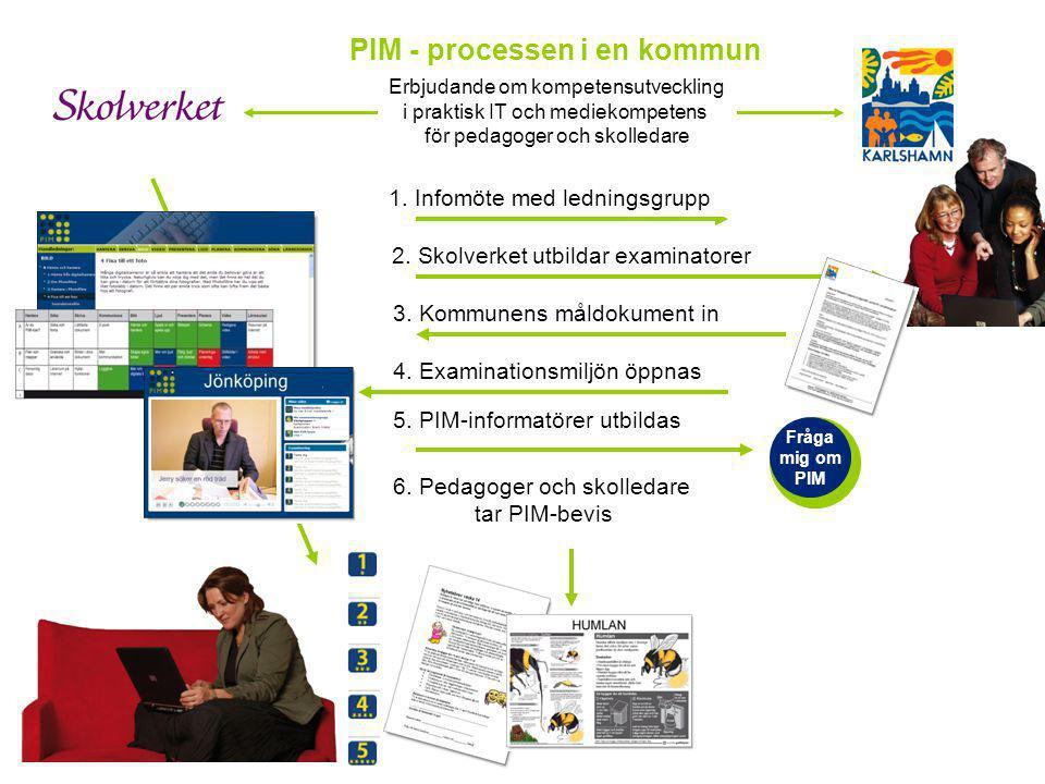 Erbjudande om kompetensutveckling i praktisk IT och mediekompetens för pedagoger och skolledare 1. Infomöte med ledningsgrupp 2. Skolverket utbildar e