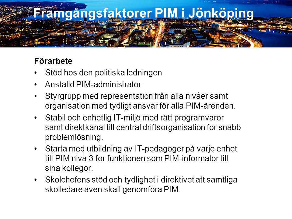 Framgångsfaktorer PIM i Jönköping Förarbete •Stöd hos den politiska ledningen •Anställd PIM-administratör •Styrgrupp med representation från alla nivå