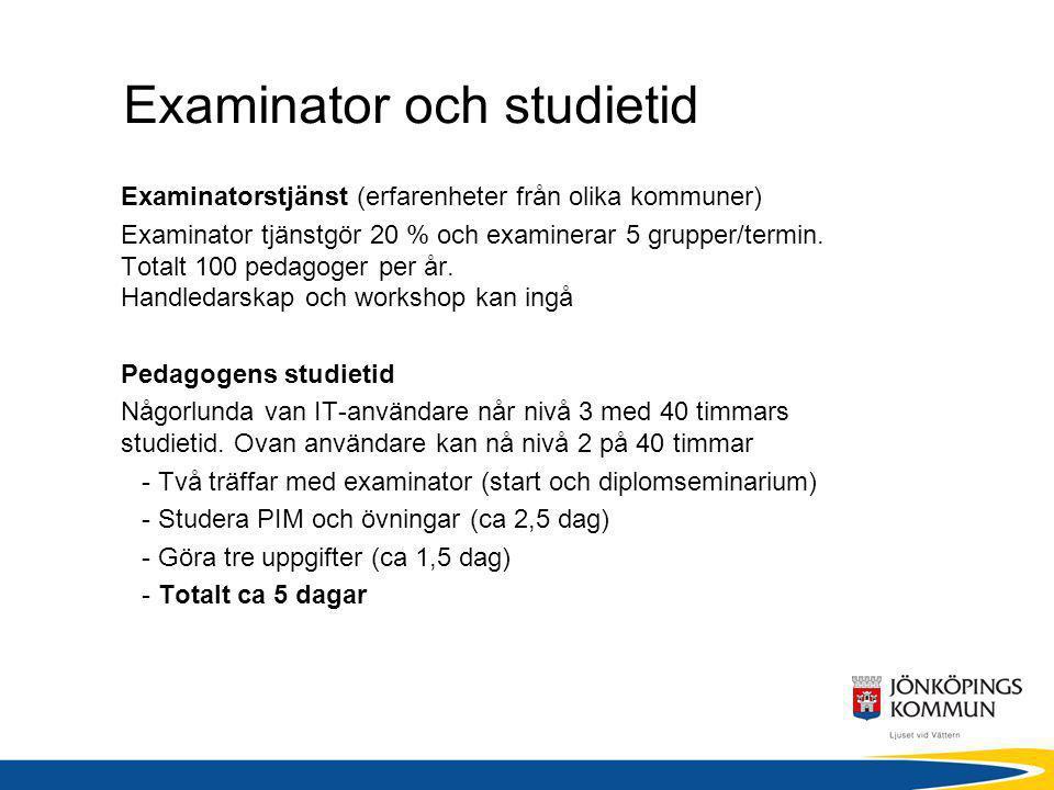 Examinator och studietid Examinatorstjänst (erfarenheter från olika kommuner) Examinator tjänstgör 20 % och examinerar 5 grupper/termin. Totalt 100 pe