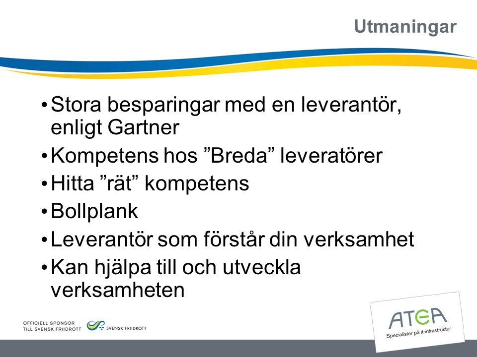 """Utmaningar • Stora besparingar med en leverantör, enligt Gartner • Kompetens hos """"Breda"""" leveratörer • Hitta """"rät"""" kompetens • Bollplank • Leverantör"""