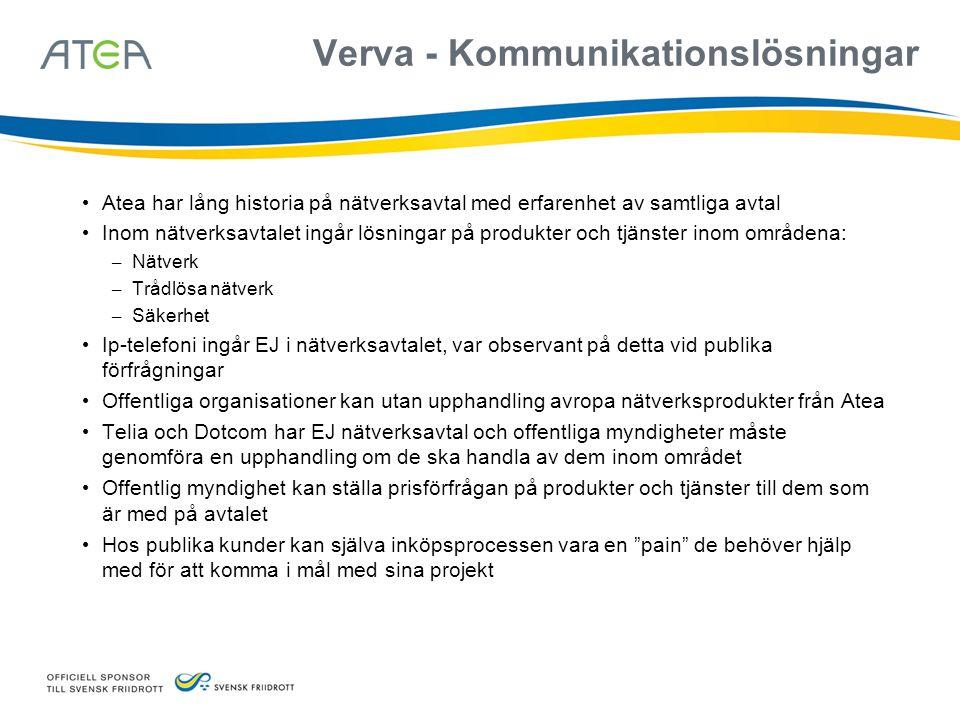 Verva - Kommunikationslösningar • Atea har lång historia på nätverksavtal med erfarenhet av samtliga avtal • Inom nätverksavtalet ingår lösningar på p
