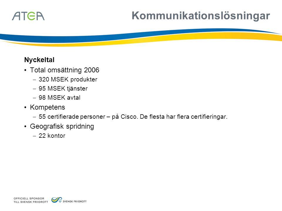 Kommunikationslösningar Nyckeltal • Total omsättning 2006 – 320 MSEK produkter – 95 MSEK tjänster – 98 MSEK avtal • Kompetens – 55 certifierade person