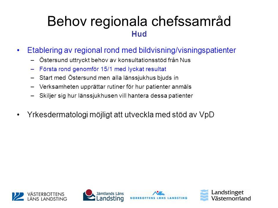 Behov regionala chefssamråd Hud •Etablering av regional rond med bildvisning/visningspatienter –Östersund uttryckt behov av konsultationsstöd från Nus
