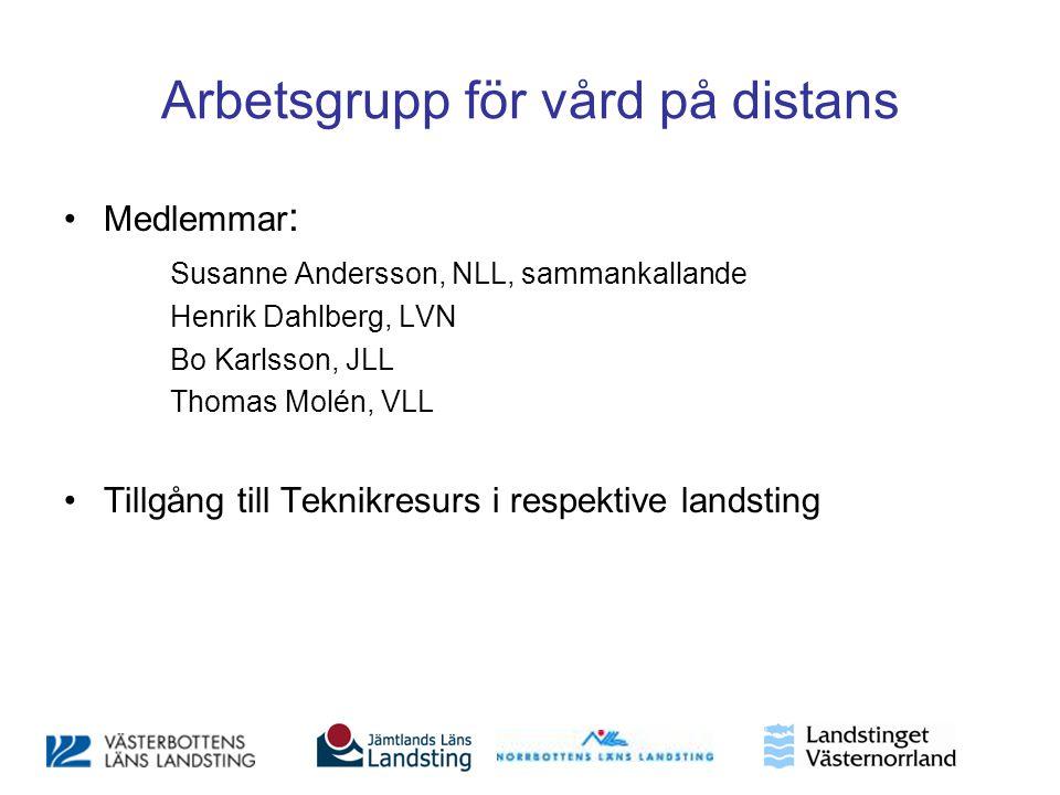 Arbetsgrupp för vård på distans •Medlemmar : Susanne Andersson, NLL, sammankallande Henrik Dahlberg, LVN Bo Karlsson, JLL Thomas Molén, VLL •Tillgång