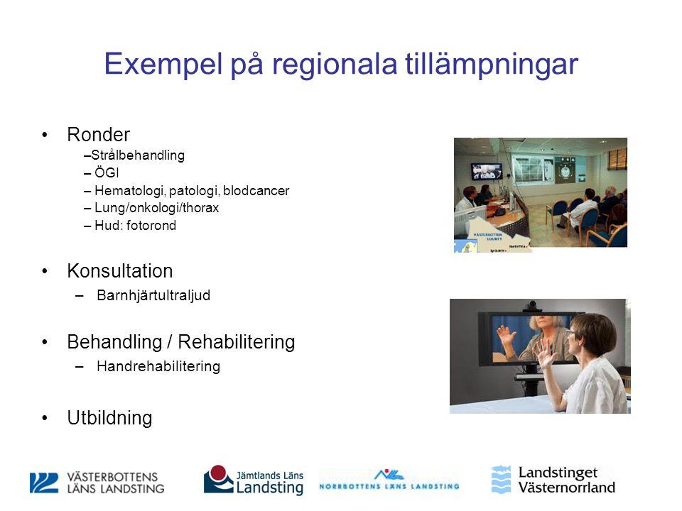 Exempel på regionala tillämpningar •Ronder –Strålbehandling – ÖGI – Hematologi, patologi, blodcancer – Lung/onkologi/thorax – Hud: fotorond •Konsultat