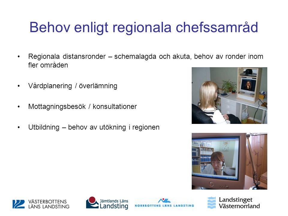 Behov enligt regionala chefssamråd •Regionala distansronder – schemalagda och akuta, behov av ronder inom fler områden •Vårdplanering / överlämning •M