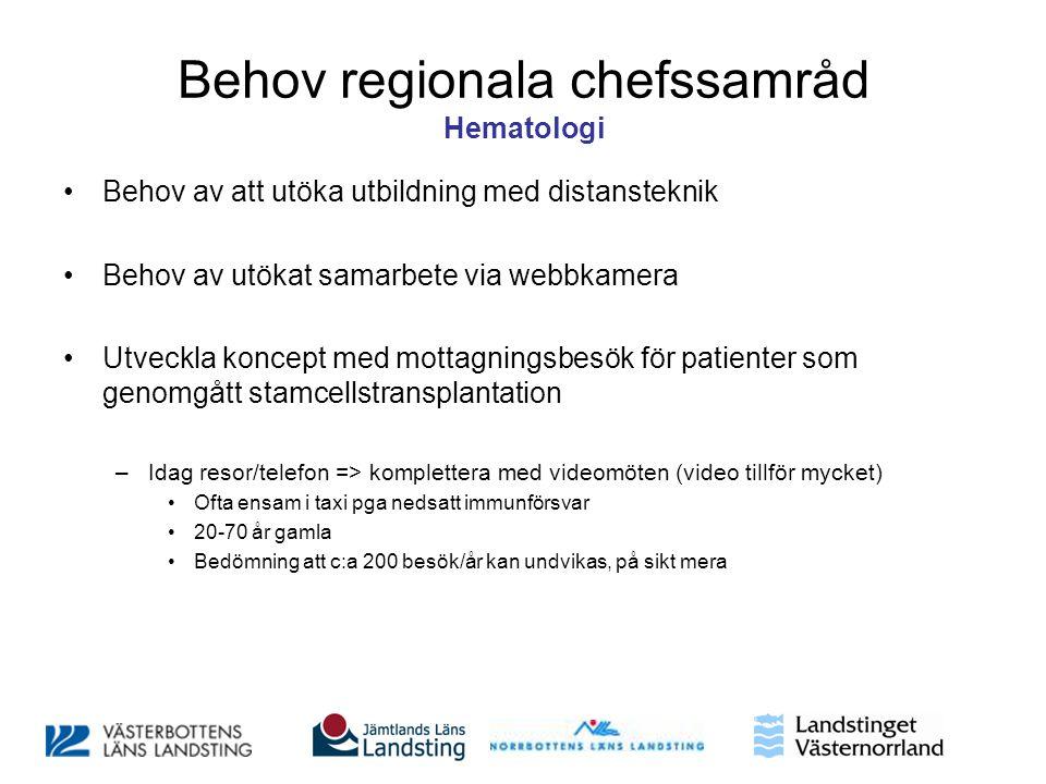 Behov regionala chefssamråd Hematologi •Behov av att utöka utbildning med distansteknik •Behov av utökat samarbete via webbkamera •Utveckla koncept me