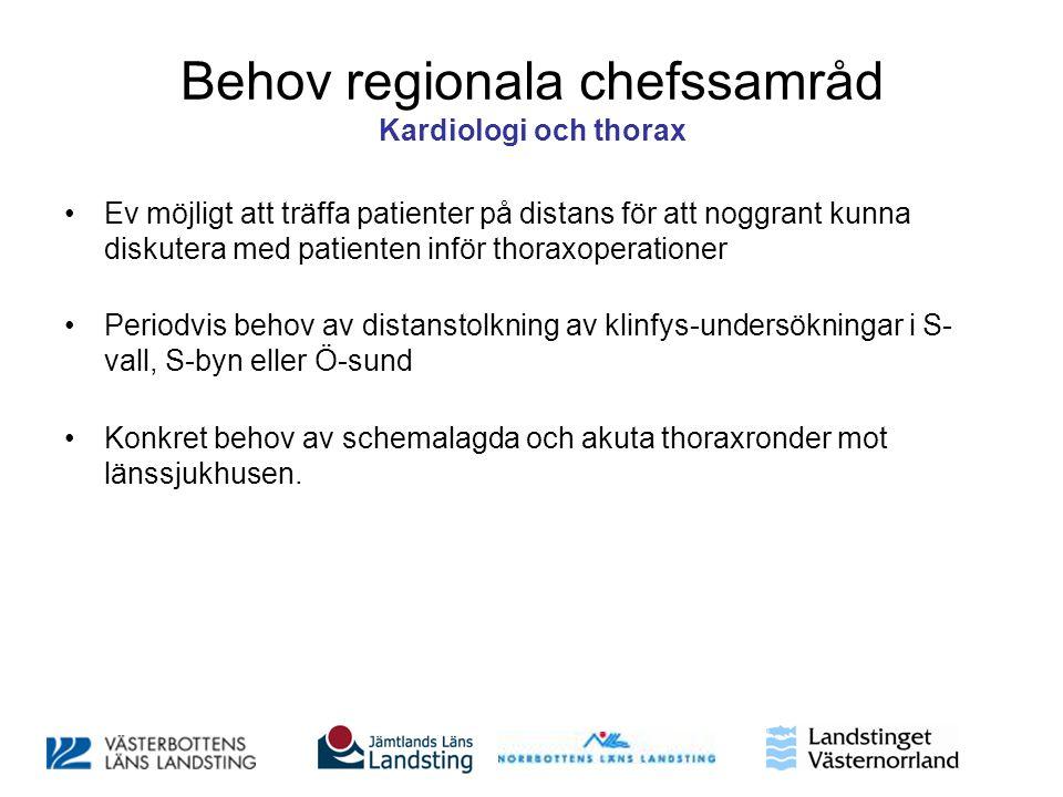 Behov regionala chefssamråd Kardiologi och thorax •Ev möjligt att träffa patienter på distans för att noggrant kunna diskutera med patienten inför tho