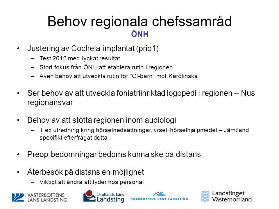 Behov regionala chefssamråd ÖNH •Justering av Cochela-implantat (prio1) –Test 2012 med lyckat resultat –Stort fokus från ÖNH att etablera rutin i regi