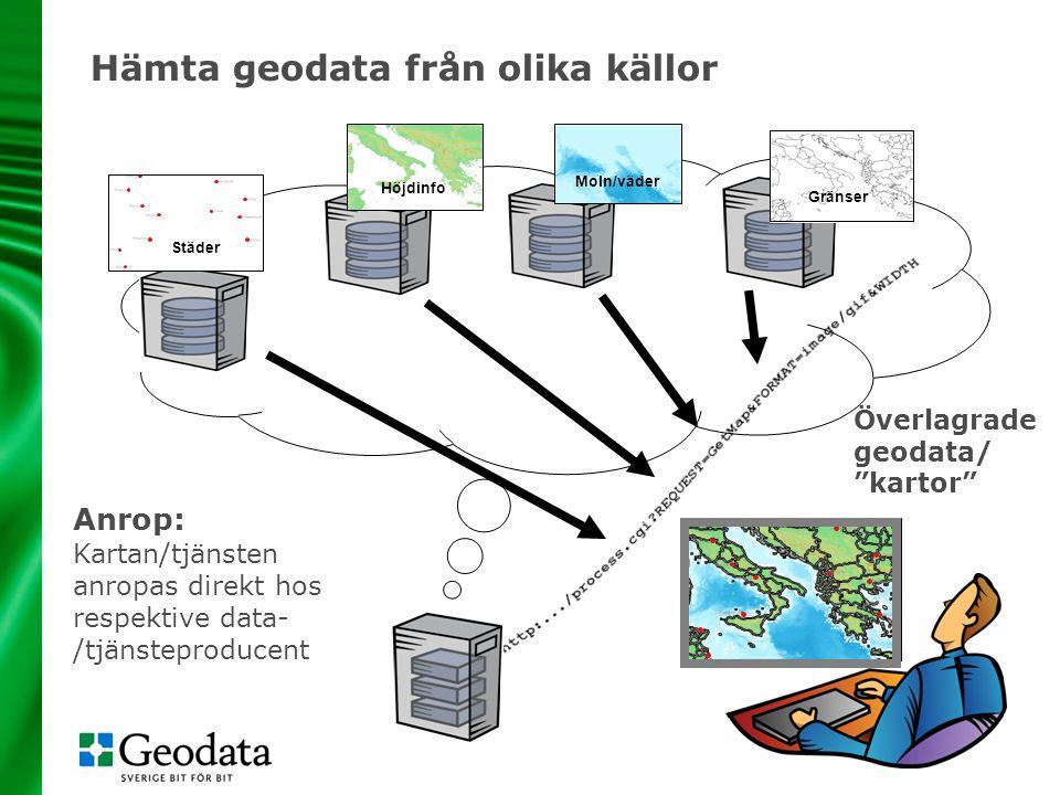 """Överlagrade geodata/ """"kartor"""" Anrop: Kartan/tjänsten anropas direkt hos respektive data- /tjänsteproducent Gränser Höjdinfo Moln/väder Städer Hämta ge"""