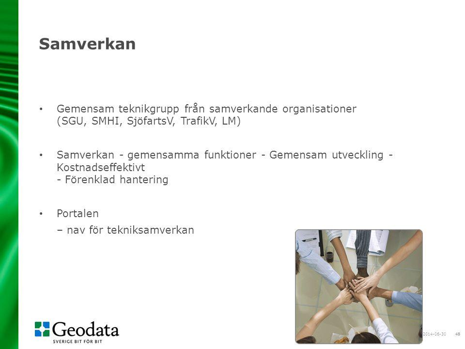 48 Samverkan • Gemensam teknikgrupp från samverkande organisationer (SGU, SMHI, SjöfartsV, TrafikV, LM) • Samverkan - gemensamma funktioner - Gemensam