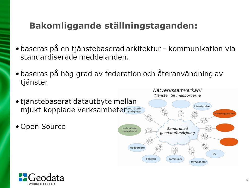 49 Bakomliggande ställningstaganden: •baseras på en tjänstebaserad arkitektur - kommunikation via standardiserade meddelanden. •baseras på hög grad av