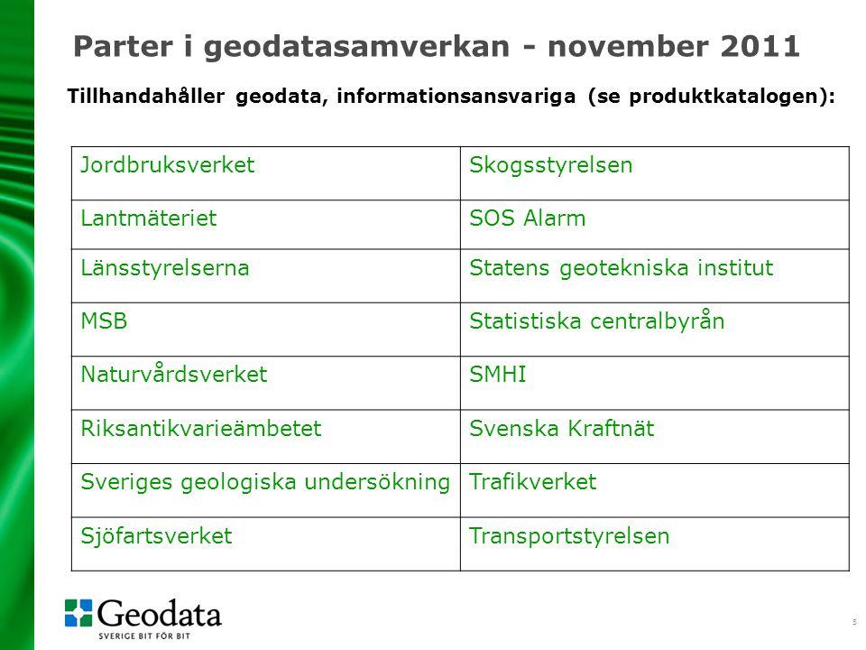 5 Parter i geodatasamverkan - november 2011 JordbruksverketSkogsstyrelsen LantmäterietSOS Alarm LänsstyrelsernaStatens geotekniska institut MSBStatist