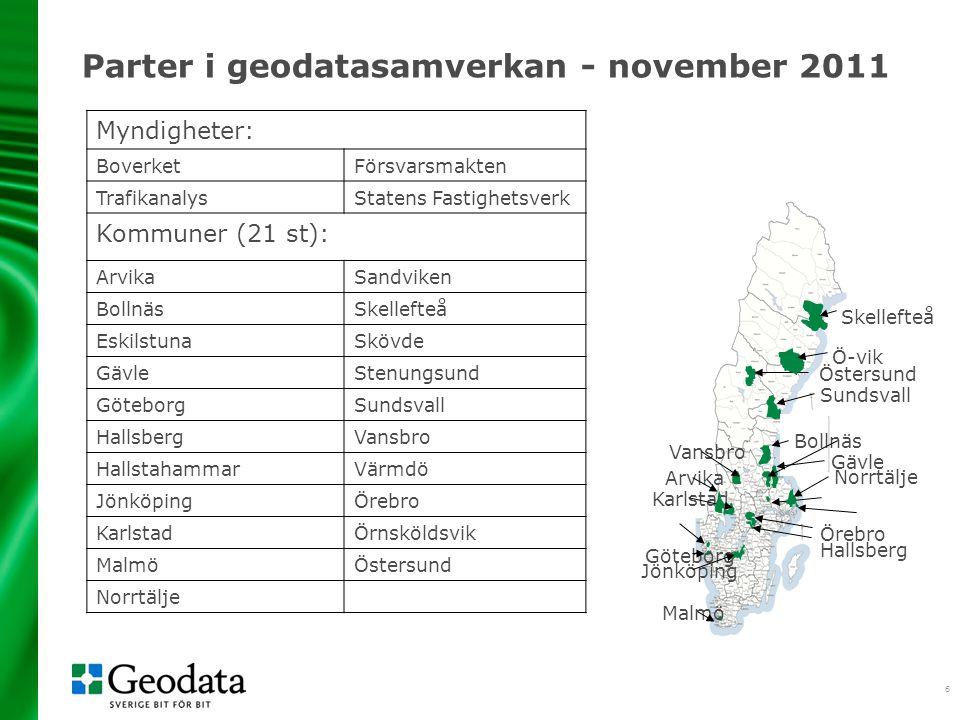 17 Fördelar med Geodatasamverkan •ETT avtal till en fast årsavgift •Minskad tid för administration, avtalsförhandlingar, kontroll av rättigheter eller budget.