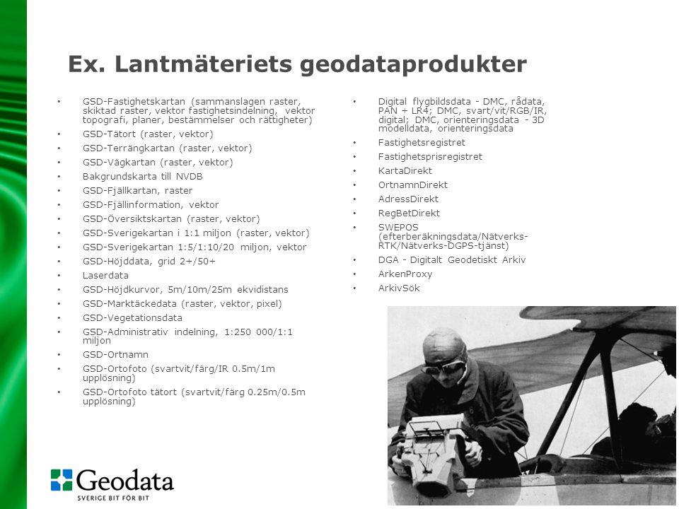 8 Ex. Lantmäteriets geodataprodukter • GSD-Fastighetskartan (sammanslagen raster, skiktad raster, vektor fastighetsindelning, vektor topografi, planer
