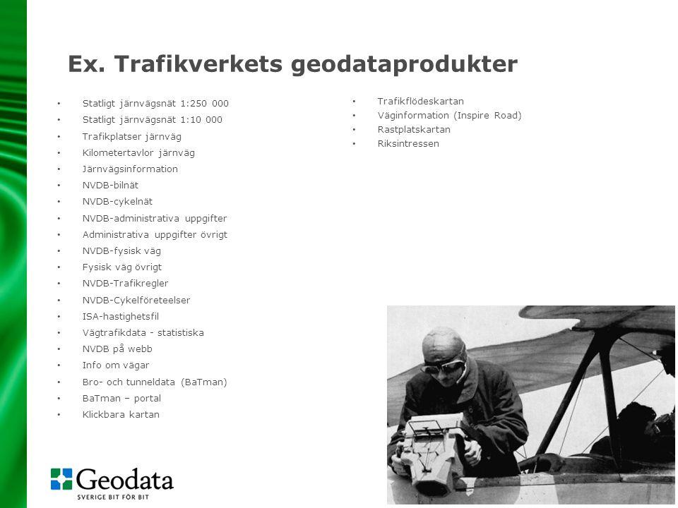 9 Ex. Trafikverkets geodataprodukter • Statligt järnvägsnät 1:250 000 • Statligt järnvägsnät 1:10 000 • Trafikplatser järnväg • Kilometertavlor järnvä