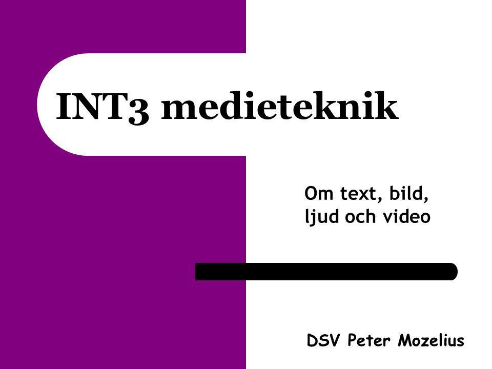 INT3 medieteknik Om text, bild, ljud och video DSV Peter Mozelius
