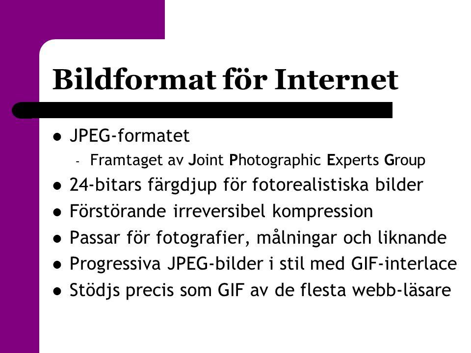 Bildformat för Internet  JPEG-formatet – Framtaget av Joint Photographic Experts Group  24-bitars färgdjup för fotorealistiska bilder  Förstörande