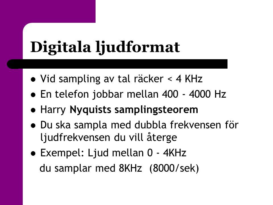 Digitala ljudformat  Vid sampling av tal räcker < 4 KHz  En telefon jobbar mellan 400 - 4000 Hz  Harry Nyquists samplingsteorem  Du ska sampla med