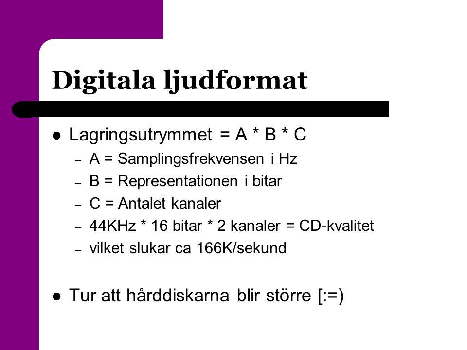 Digitala ljudformat  Lagringsutrymmet = A * B * C – A = Samplingsfrekvensen i Hz – B = Representationen i bitar – C = Antalet kanaler – 44KHz * 16 bi