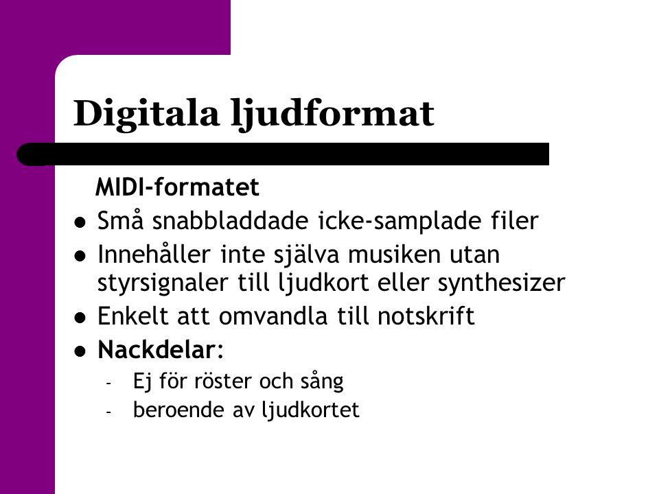 Digitala ljudformat MIDI-formatet  Små snabbladdade icke-samplade filer  Innehåller inte själva musiken utan styrsignaler till ljudkort eller synthe