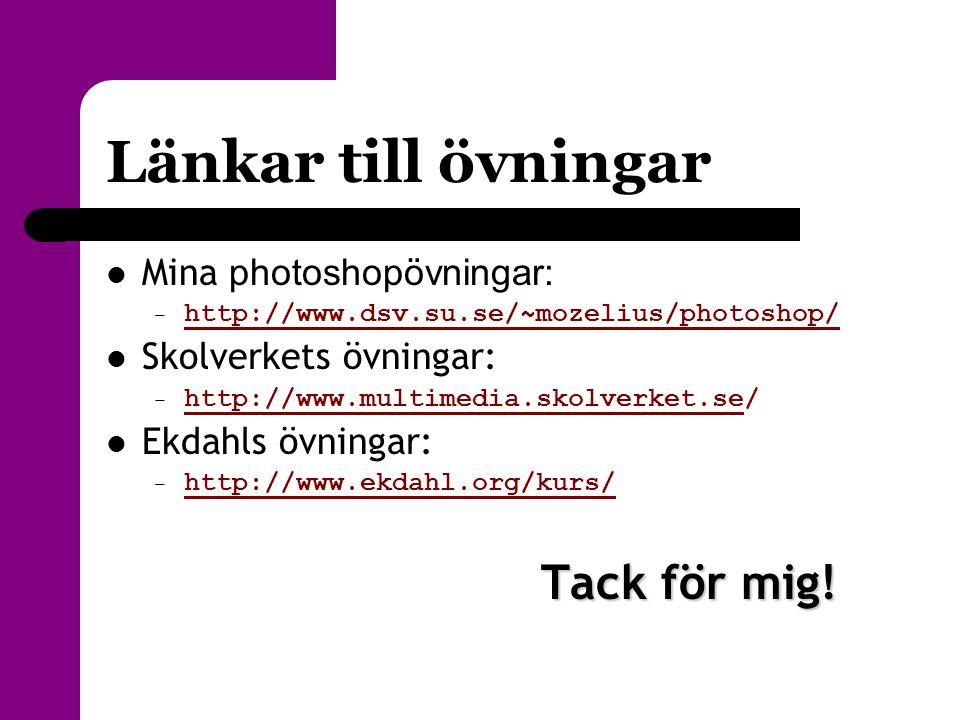 Länkar till övningar  Mina photoshopövningar: – http://www.dsv.su.se/~mozelius/photoshop/ http://www.dsv.su.se/~mozelius/photoshop/  Skolverkets övn