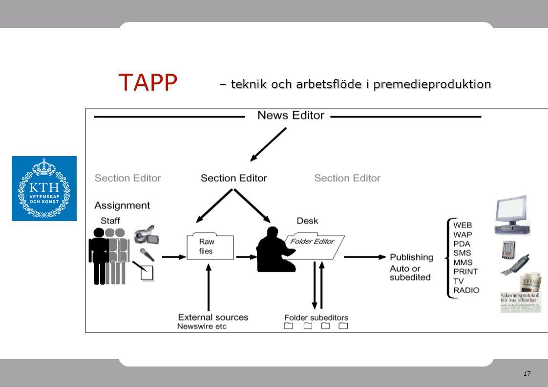 17 TAPP – teknik och arbetsflöde i premedieproduktion
