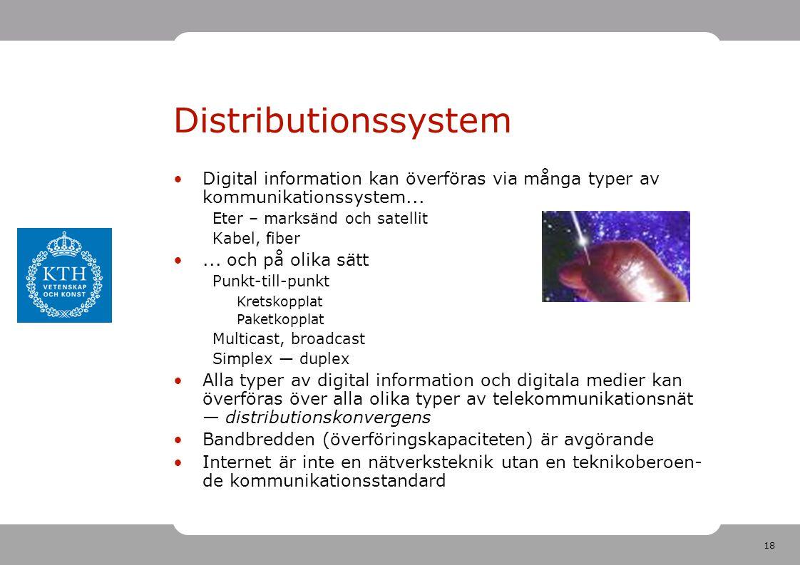 18 Distributionssystem •Digital information kan överföras via många typer av kommunikationssystem... Eter – marksänd och satellit Kabel, fiber •... oc