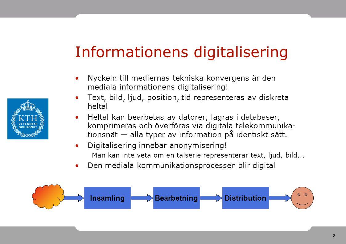 2 Informationens digitalisering •Nyckeln till mediernas tekniska konvergens är den mediala informationens digitalisering! •Text, bild, ljud, position,