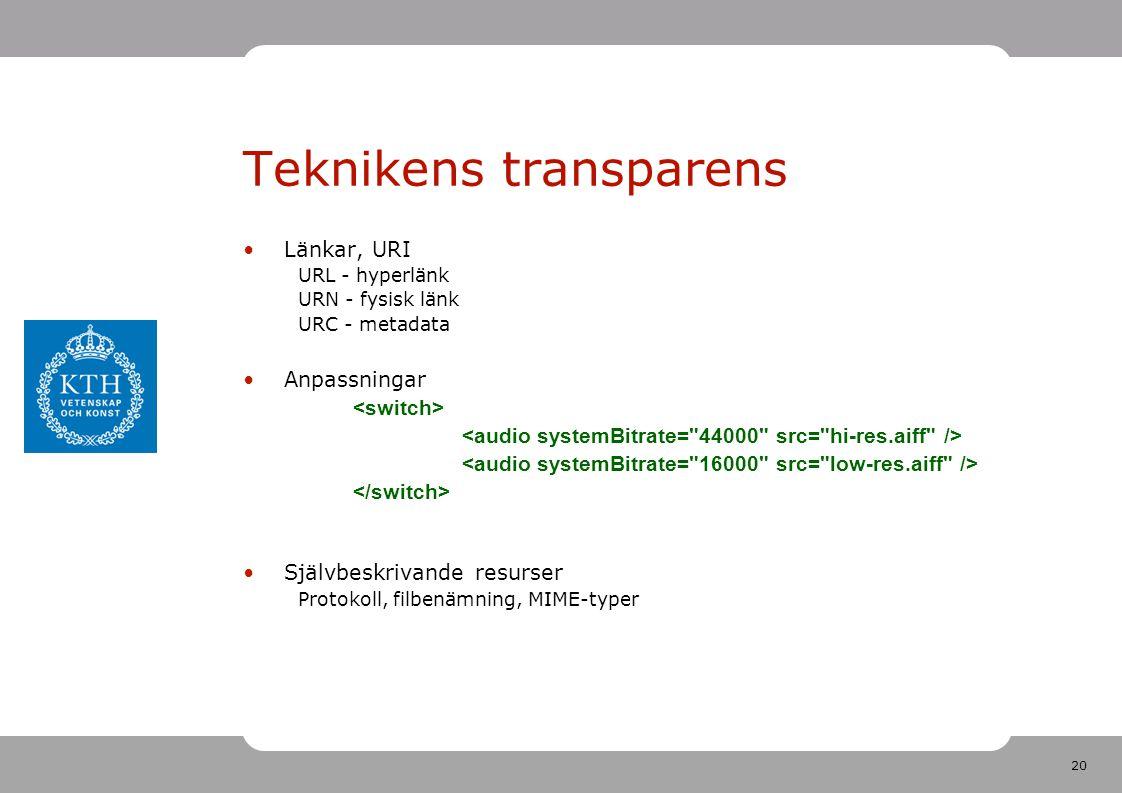 20 Teknikens transparens •Länkar, URI URL - hyperlänk URN - fysisk länk URC - metadata •Anpassningar •Självbeskrivande resurser Protokoll, filbenämning, MIME-typer