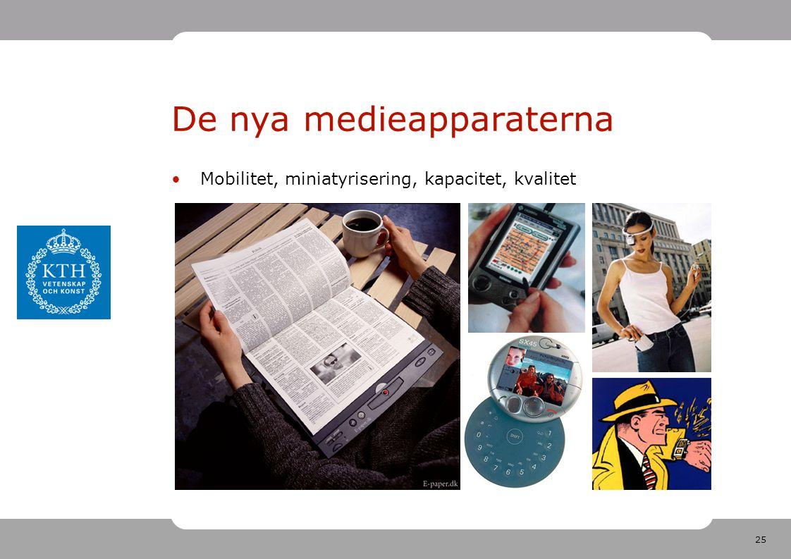 25 De nya medieapparaterna •Mobilitet, miniatyrisering, kapacitet, kvalitet