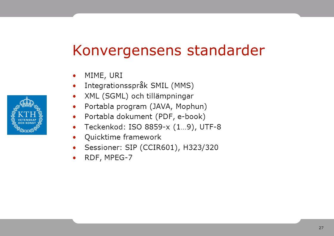 27 Konvergensens standarder •MIME, URI •Integrationsspråk SMIL (MMS) •XML (SGML) och tillämpningar •Portabla program (JAVA, Mophun) •Portabla dokument (PDF, e-book) •Teckenkod: ISO 8859-x (1…9), UTF-8 •Quicktime framework •Sessioner: SIP (CCIR601), H323/320 •RDF, MPEG-7