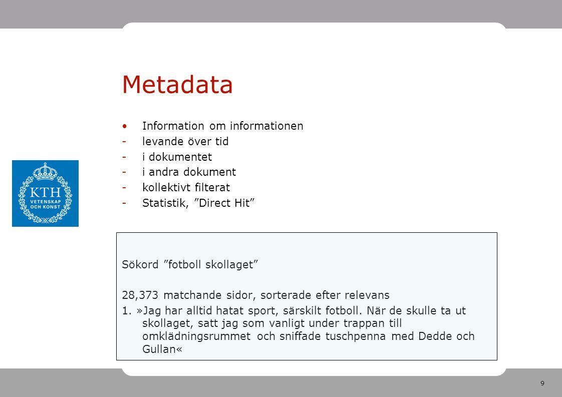 9 Metadata •Information om informationen -levande över tid -i dokumentet -i andra dokument -kollektivt filterat -Statistik, Direct Hit Sökord fotboll skollaget 28,373 matchande sidor, sorterade efter relevans 1.
