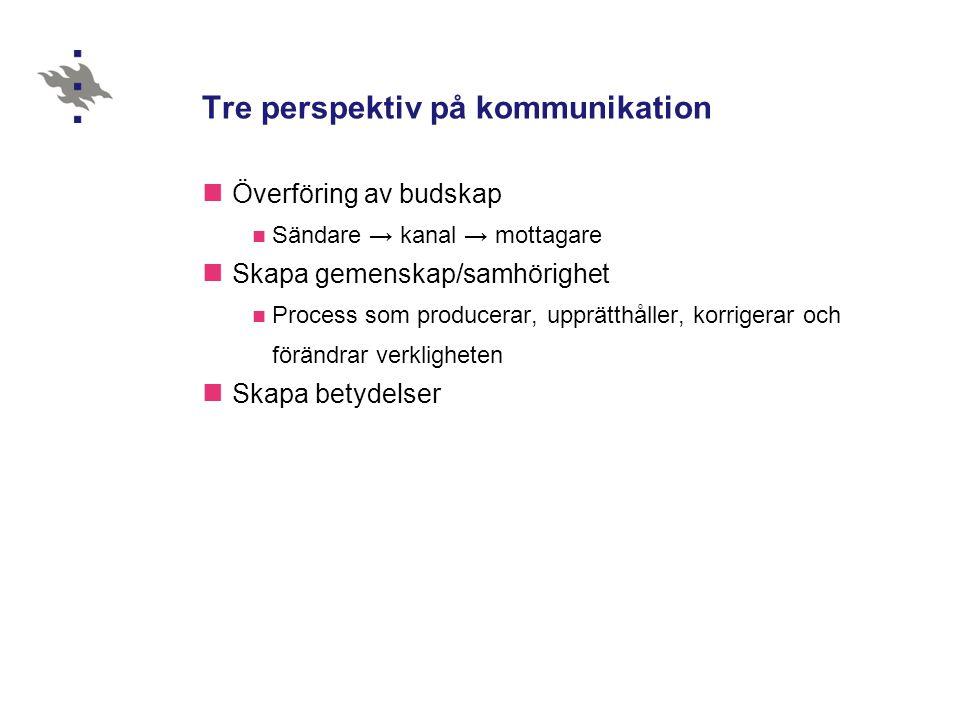 Tre perspektiv på kommunikation  Överföring av budskap  Sändare → kanal → mottagare  Skapa gemenskap/samhörighet  Process som producerar, upprätthåller, korrigerar och förändrar verkligheten  Skapa betydelser