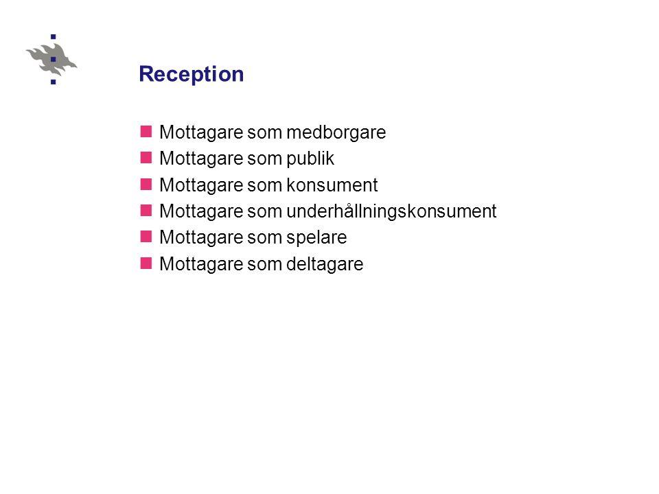 Reception  Mottagare som medborgare  Mottagare som publik  Mottagare som konsument  Mottagare som underhållningskonsument  Mottagare som spelare  Mottagare som deltagare