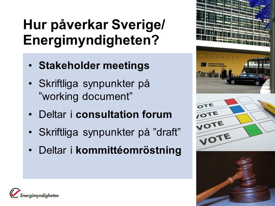 """Hur påverkar Sverige/ Energimyndigheten? •Stakeholder meetings •Skriftliga synpunkter på """"working document"""" •Deltar i consultation forum •Skriftliga s"""
