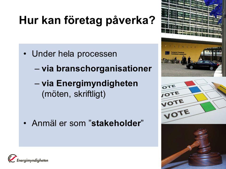 """Hur kan företag påverka? •Under hela processen –via branschorganisationer –via Energimyndigheten (möten, skriftligt) •Anmäl er som """"stakeholder"""""""