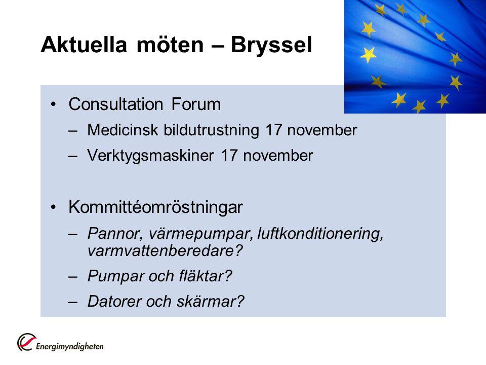 Aktuella möten – Bryssel •Consultation Forum –Medicinsk bildutrustning 17 november –Verktygsmaskiner 17 november •Kommittéomröstningar –Pannor, värmep