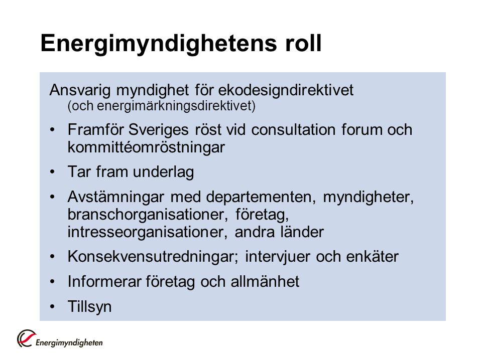 Energimyndighetens roll Ansvarig myndighet för ekodesigndirektivet (och energimärkningsdirektivet) •Framför Sveriges röst vid consultation forum och k