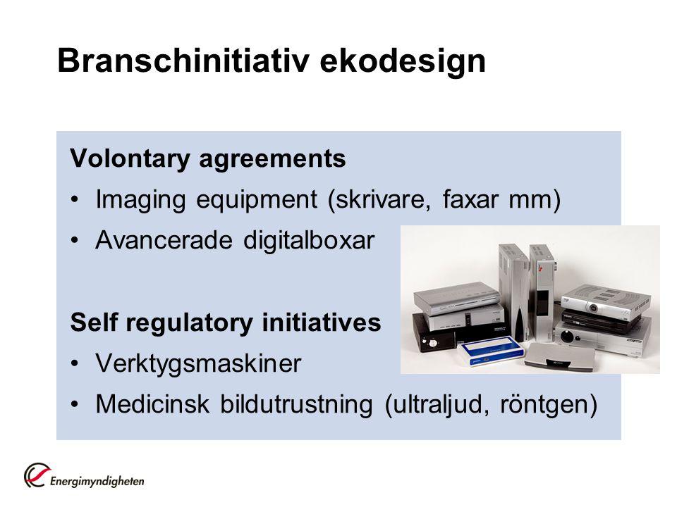 Branschinitiativ ekodesign Volontary agreements •Imaging equipment (skrivare, faxar mm) •Avancerade digitalboxar Self regulatory initiatives •Verktygs