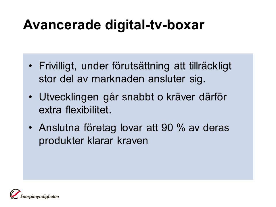 Avancerade digital-tv-boxar •Frivilligt, under förutsättning att tillräckligt stor del av marknaden ansluter sig. •Utvecklingen går snabbt o kräver dä